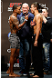 LAS VEGAS, NV - DECEMBER 28:  (L-R) Opponents Michael Johnson and Myles Jury face off during the UFC 155 weigh-in on December 28, 2012 at MGM Grand Garden Arena in Las Vegas, Nevada. (Photo by Josh Hedges/Zuffa LLC/Zuffa LLC via Getty Images)