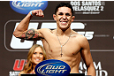 LAS VEGAS, NV - DECEMBER 28:  Erik Perez flexes during the UFC 155 weigh-in on December 28, 2012 at MGM Grand Garden Arena in Las Vegas, Nevada. (Photo by Josh Hedges/Zuffa LLC/Zuffa LLC via Getty Images)
