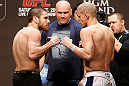 LAS VEGAS, NV - DECEMBER 28:  (L-R) Opponents Jim Miller and Joe Lauzon face off during the UFC 155 weigh-in on December 28, 2012 at MGM Grand Garden Arena in Las Vegas, Nevada. (Photo by Josh Hedges/Zuffa LLC/Zuffa LLC via Getty Images)