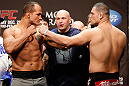 LAS VEGAS, NV - DECEMBER 28:  (L-R) UFC Heavyweight Champion Junior dos Santos faces off with challenger Cain Velasquez during the UFC 155 weigh-in on December 28, 2012 at MGM Grand Garden Arena in Las Vegas, Nevada. (Photo by Josh Hedges/Zuffa LLC/Zuffa LLC via Getty Images)