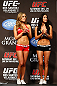 LAS VEGAS, NV - DECEMBER 28:  (L-R) UFC Octagon Girls Brittney Palmer and Arianny Celeste stand on stage during the UFC 155 weigh-in on December 28, 2012 at MGM Grand Garden Arena in Las Vegas, Nevada. (Photo by Josh Hedges/Zuffa LLC/Zuffa LLC via Getty Images)