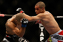 LAS VEGAS, NV - DECEMBER 29:  (R-L) Chris Cariaso punches John Moraga during their flyweight fight at UFC 155 on December 29, 2012 at MGM Grand Garden Arena in Las Vegas, Nevada. (Photo by Josh Hedges/Zuffa LLC/Zuffa LLC via Getty Images) *** Local Caption *** Chris Cariaso; John Moraga