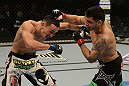 LAS VEGAS, NV - DECEMBER 29:  (R-L) Leonard Garcia punches Max Holloway during their featherweight fight at UFC 155 on December 29, 2012 at MGM Grand Garden Arena in Las Vegas, Nevada. (Photo by Donald Miralle/Zuffa LLC/Zuffa LLC via Getty Images) *** Local Caption *** Leonard Garcia; Max Holloway