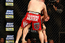 LAS VEGAS, NV - DECEMBER 29:  Phil De Fries (red shorts) punches Todd Duffee during their heavyweight fight at UFC 155 on December 29, 2012 at MGM Grand Garden Arena in Las Vegas, Nevada. (Photo by Josh Hedges/Zuffa LLC/Zuffa LLC via Getty Images) *** Local Caption *** Phil De Fries; Todd Duffee