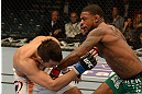 LAS VEGAS, NV - DECEMBER 29:  (R-L) Michael Johnson punches Myles Jury during their lightweight fight at UFC 155 on December 29, 2012 at MGM Grand Garden Arena in Las Vegas, Nevada. (Photo by Josh Hedges/Zuffa LLC/Zuffa LLC via Getty Images) *** Local Caption *** Michael Johnson; Myles Jury