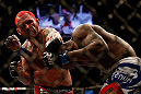 LAS VEGAS, NV - DECEMBER 29:  (L-R) Chris Leben punches Derek Brunson during their middleweight fight at UFC 155 on December 29, 2012 at MGM Grand Garden Arena in Las Vegas, Nevada. (Photo by Josh Hedges/Zuffa LLC/Zuffa LLC via Getty Images) *** Local Caption *** Chris Leben; Derek Brunson