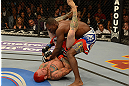 LAS VEGAS, NV - DECEMBER 29:  Chris Leben (bottom) attempts to submit Derek Brunson during their middleweight fight at UFC 155 on December 29, 2012 at MGM Grand Garden Arena in Las Vegas, Nevada. (Photo by Donald Miralle/Zuffa LLC/Zuffa LLC via Getty Images) *** Local Caption *** Chris Leben; Derek Brunson