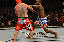 LAS VEGAS, NV - DECEMBER 29:  (R-L) Derek Brunson punches Chris Leben during their middleweight fight at UFC 155 on December 29, 2012 at MGM Grand Garden Arena in Las Vegas, Nevada. (Photo by Donald Miralle/Zuffa LLC/Zuffa LLC via Getty Images) *** Local Caption *** Chris Leben; Derek Brunson