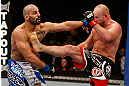 LAS VEGAS, NV - DECEMBER 29:  (R-L) Tim Boetsch kicks Constantinos Philippou during their middleweight fight at UFC 155 on December 29, 2012 at MGM Grand Garden Arena in Las Vegas, Nevada. (Photo by Josh Hedges/Zuffa LLC/Zuffa LLC via Getty Images) *** Local Caption *** Tim Boetsch; Constantinos Philippou