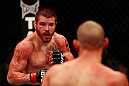 LAS VEGAS, NV - DECEMBER 29:  (L-R) Jim Miller andJoe Lauzon face off during their lightweight fight at UFC 155 on December 29, 2012 at MGM Grand Garden Arena in Las Vegas, Nevada. (Photo by Donald Miralle/Zuffa LLC/Zuffa LLC via Getty Images) *** Local Caption *** Joe Lauzon; Jim Miller