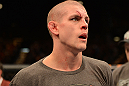 LAS VEGAS, NV - DECEMBER 29:  Joe Lauzon waits for the official decision after his lightweight fight at UFC 155 on December 29, 2012 at MGM Grand Garden Arena in Las Vegas, Nevada. (Photo by Donald Miralle/Zuffa LLC/Zuffa LLC via Getty Images) *** Local Caption *** Joe Lauzon; Jim Miller