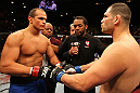 LAS VEGAS, NV - DECEMBER 29: Junior dos Santos (left) and Cain Velasquez (right) touch gloves before their heavyweight championship fight at UFC 155 on December 29, 2012 at MGM Grand Garden Arena in Las Vegas, Nevada. (Photo by Josh Hedges/Zuffa LLC/Zuffa LLC via Getty Images) *** Local Caption *** Junior dos Santos; Cain Velasquez