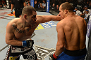 LAS VEGAS, NV - DECEMBER 29:  (L-R) Cain Velasquez punches Junior dos Santos during their heavyweight championship fight at UFC 155 on December 29, 2012 at MGM Grand Garden Arena in Las Vegas, Nevada. (Photo by Donald Miralle/Zuffa LLC/Zuffa LLC via Getty Images) *** Local Caption *** Junior dos Santos; Cain Velasquez
