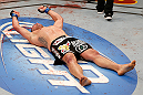 LAS VEGAS, NV - DECEMBER 29:  Cain Velasquez reacts to his victory over Junior dos Santos after their heavyweight championship fight at UFC 155 on December 29, 2012 at MGM Grand Garden Arena in Las Vegas, Nevada. (Photo by Josh Hedges/Zuffa LLC/Zuffa LLC via Getty Images) *** Local Caption *** Junior dos Santos; Cain Velasquez