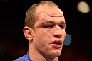 LAS VEGAS, NV - DECEMBER 29:  Junior dos Santos awaits the decision after his fight against Cain Velasquez at UFC 155 on December 29, 2012 at MGM Grand Garden Arena in Las Vegas, Nevada. (Photo by Donald Miralle/Zuffa LLC/Zuffa LLC via Getty Images) *** Local Caption *** Junior dos Santos; Cain Velasquez