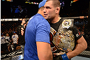 LAS VEGAS, NV - DECEMBER 29:  (R-L) Cain Velasquez and Junior dos Santos congratulate eachother after their heavyweight championship fight at UFC 155 on December 29, 2012 at MGM Grand Garden Arena in Las Vegas, Nevada. (Photo by Donald Miralle/Zuffa LLC/Zuffa LLC via Getty Images) *** Local Caption *** Junior dos Santos; Cain Velasquez