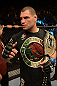 LAS VEGAS, NV - DECEMBER 29:  Cain Velasquez reacts to his victory after his heavyweight championship fight against Junior dos Santos at UFC 155 on December 29, 2012 at MGM Grand Garden Arena in Las Vegas, Nevada. (Photo by Donald Miralle/Zuffa LLC/Zuffa LLC via Getty Images) *** Local Caption *** Junior dos Santos; Cain Velasquez