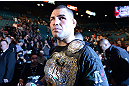 LAS VEGAS, NV - DECEMBER 29:  Cain Velasquez walks out of the Octagon after his heavyweight championship fight at UFC 155 on December 29, 2012 at MGM Grand Garden Arena in Las Vegas, Nevada. (Photo by Donald Miralle/Zuffa LLC/Zuffa LLC via Getty Images) *** Local Caption *** Junior dos Santos; Cain Velasquez