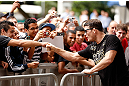 SAO PAULO, BRAZIL - JANUARY 16:  Michael Bisping greets fans during the UFC open workouts on January 16, 2013 at Parque Anhangabau in Sao Paulo, Brazil. (Photo by Josh Hedges/Zuffa LLC/Zuffa LLC via Getty Images)