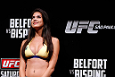 SAO PAULO, BRAZIL - JANUARY 18:  UFC Octagon Girl Camila Rodrigues de Oliveira stands on stage during the UFC on FX official weigh-in event on January 18, 2013 at Ibirapuera Gymnasium in Sao Paulo, Brazil. (Photo by Josh Hedges/Zuffa LLC/Zuffa LLC via Getty Images)