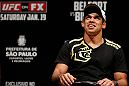 SAO PAULO, BRAZIL - JANUARY 18:  Renan Barao interacts with fans during a Q&A session before the UFC on FX official weigh-in event on January 18, 2013 at Ibirapuera Gymnasium in Sao Paulo, Brazil. (Photo by Josh Hedges/Zuffa LLC/Zuffa LLC via Getty Images)