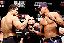 SAO PAULO, BRAZIL - JANUARY 18:  (L-R) Opponents Wagner Prado and Ildemar Alcantara face off during the UFC on FX official weigh-in event on January 18, 2013 at Ibirapuera Gymnasium in Sao Paulo, Brazil. (Photo by Josh Hedges/Zuffa LLC/Zuffa LLC via Getty Images)