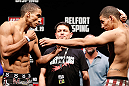 SAO PAULO, BRAZIL - JANUARY 18:  (L-R) Opponents Edson Barboza and Lucas Martins face off during the UFC on FX official weigh-in event on January 18, 2013 at Ibirapuera Gymnasium in Sao Paulo, Brazil. (Photo by Josh Hedges/Zuffa LLC/Zuffa LLC via Getty Images)