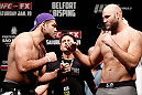 SAO PAULO, BRAZIL - JANUARY 18:  (L-R) Opponents Gabriel Gonzaga and Ben Rothwell face off during the UFC on FX official weigh-in event on January 18, 2013 at Ibirapuera Gymnasium in Sao Paulo, Brazil. (Photo by Josh Hedges/Zuffa LLC/Zuffa LLC via Getty Images)
