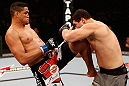 SAO PAULO, BRAZIL - JANUARY 19:  (L-R) Ildemar Alcantara delivers a knee strike against Wagner Prado in their light heavyweight fight at the UFC on FX event on January 19, 2013 at Ibirapuera Gymnasium in Sao Paulo, Brazil. (Photo by Josh Hedges/Zuffa LLC/Zuffa LLC via Getty Images)