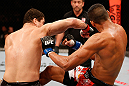 SAO PAULO, BRAZIL - JANUARY 19:  (L-R) Wagner Prado punches Ildemar Alcantara in their light heavyweight fight at the UFC on FX event on January 19, 2013 at Ibirapuera Gymnasium in Sao Paulo, Brazil. (Photo by Josh Hedges/Zuffa LLC/Zuffa LLC via Getty Images)