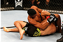 SAO PAULO, BRAZIL - JANUARY 19:  (L-R) Yuri Alcantara attempts a shoulder lock submission against Pedro Nobre in their bantamweight fight at the UFC on FX event on January 19, 2013 at Ibirapuera Gymnasium in Sao Paulo, Brazil. (Photo by Josh Hedges/Zuffa LLC/Zuffa LLC via Getty Images)