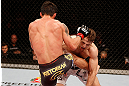 SAO PAULO, BRAZIL - JANUARY 19:  (L-R) Diego Nunes kicks Nik Lentz in their featherweight fight at the UFC on FX event on January 19, 2013 at Ibirapuera Gymnasium in Sao Paulo, Brazil. (Photo by Josh Hedges/Zuffa LLC/Zuffa LLC via Getty Images)
