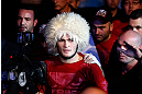 SAO PAULO, BRAZIL - JANUARY 19:  Khabib Nurmagomedov enters the arena before his lightweight fight against Thiago Tavares at the UFC on FX event on January 19, 2013 at Ibirapuera Gymnasium in Sao Paulo, Brazil. (Photo by Josh Hedges/Zuffa LLC/Zuffa LLC via Getty Images)