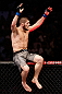 SAO PAULO, BRAZIL - JANUARY 19:  Khabib Nurmagomedov reacts after knocking out Thiago Tavares in their lightweight fight at the UFC on FX event on January 19, 2013 at Ibirapuera Gymnasium in Sao Paulo, Brazil. (Photo by Josh Hedges/Zuffa LLC/Zuffa LLC via Getty Images)