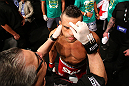 SAO PAULO, BRAZIL - JANUARY 19:  Vitor Belfort prepares to enter the Octagon before his middleweight fight against Michael Bisping at the UFC on FX event on January 19, 2013 at Ibirapuera Gymnasium in Sao Paulo, Brazil. (Photo by Josh Hedges/Zuffa LLC/Zuffa LLC via Getty Images)
