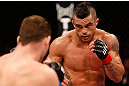 SAO PAULO, BRAZIL - JANUARY 19:  (R-L) Vitor Belfort squares off with Michael Bisping in their middleweight fight at the UFC on FX event on January 19, 2013 at Ibirapuera Gymnasium in Sao Paulo, Brazil. (Photo by Josh Hedges/Zuffa LLC/Zuffa LLC via Getty Images)