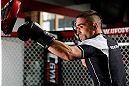 CHICAGO, IL - JANUARY 23:  Ricardo Lamas conducts an open workout session for media on January 23, 2013 at UFC Gym in Chicago, Illinois. (Photo by Josh Hedges/Zuffa LLC/Zuffa LLC via Getty Images)
