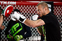 "CHICAGO, IL - JANUARY 23:  Donald ""Cowboy"" Cerrone conducts an open workout session for media on January 23, 2013 at UFC Gym in Chicago, Illinois. (Photo by Josh Hedges/Zuffa LLC/Zuffa LLC via Getty Images)"