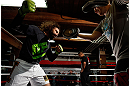 CHICAGO, IL - JANUARY 23:  Clay Guida (L) conducts an open workout session for media on January 23, 2013 at UFC Gym in Chicago, Illinois. (Photo by Josh Hedges/Zuffa LLC/Zuffa LLC via Getty Images)