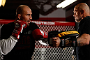 CHICAGO, IL - JANUARY 23:  Glover Teixeira (L) conducts an open workout session for media on January 23, 2013 at UFC Gym in Chicago, Illinois. (Photo by Josh Hedges/Zuffa LLC/Zuffa LLC via Getty Images)