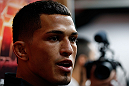 CHICAGO, IL - JANUARY 23:  Anthony Pettis addresses the media during the UFC open workouts on January 23, 2013 at UFC Gym in Chicago, Illinois. (Photo by Josh Hedges/Zuffa LLC/Zuffa LLC via Getty Images)