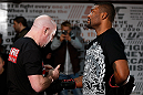 "CHICAGO, IL - JANUARY 23:  Quinton ""Rampage"" Jackson (R) conducts an open workout session for media on January 23, 2013 at UFC Gym in Chicago, Illinois. (Photo by Josh Hedges/Zuffa LLC/Zuffa LLC via Getty Images)"