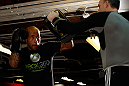 CHICAGO, IL - JANUARY 23:  Demetrious &quot;Mighty Mouse&quot; Johnson (L) conducts an open workout session for media on January 23, 2013 at UFC Gym in Chicago, Illinois. (Photo by Josh Hedges/Zuffa LLC/Zuffa LLC via Getty Images)