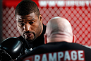 "CHICAGO, IL - JANUARY 23:  Quinton ""Rampage"" Jackson (L) conducts an open workout session for media on January 23, 2013 at UFC Gym in Chicago, Illinois. (Photo by Josh Hedges/Zuffa LLC/Zuffa LLC via Getty Images)"