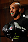"CHICAGO, IL - JANUARY 23:  Demetrious ""Mighty Mouse"" Johnson conducts an open workout session for media on January 23, 2013 at UFC Gym in Chicago, Illinois. (Photo by Josh Hedges/Zuffa LLC/Zuffa LLC via Getty Images)"
