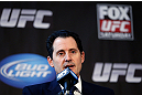 CHICAGO, IL - JANUARY 24:  UFC Chief Operating Officer Lawrence Epstein interacts with media during the UFC on FOX press conference on January 24, 2013 at the United Center in Chicago, Illinois. (Photo by Josh Hedges/Zuffa LLC/Zuffa LLC via Getty Images)