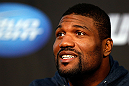 "CHICAGO, IL - JANUARY 24:  Quinton ""Rampage"" Jackson interacts with media during the UFC on FOX press conference on January 24, 2013 at the United Center in Chicago, Illinois. (Photo by Josh Hedges/Zuffa LLC/Zuffa LLC via Getty Images)"