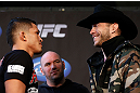 CHICAGO, IL - JANUARY 24:  (L-R) Opponents Anthony Pettis and Donald &quot;Cowboy&quot; Cerrone face off during the UFC on FOX press conference on January 24, 2013 at the United Center in Chicago, Illinois. (Photo by Josh Hedges/Zuffa LLC/Zuffa LLC via Getty Images)