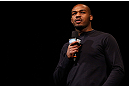 CHICAGO, IL - JANUARY 25:  UFC light heavyweight champion Jon Jones interacts with fans during a Q&amp;A session before the UFC on FOX weigh-in on January 25, 2013 at the Chicago Theatre in Chicago, Illinois. (Photo by Josh Hedges/Zuffa LLC/Zuffa LLC via Getty Images)