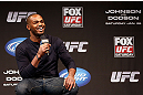 CHICAGO, IL - JANUARY 25:  UFC light heavyweight champion Jon Jones interacts with fans during a Q&A session before the UFC on FOX weigh-in on January 25, 2013 at the Chicago Theatre in Chicago, Illinois. (Photo by Josh Hedges/Zuffa LLC/Zuffa LLC via Getty Images)